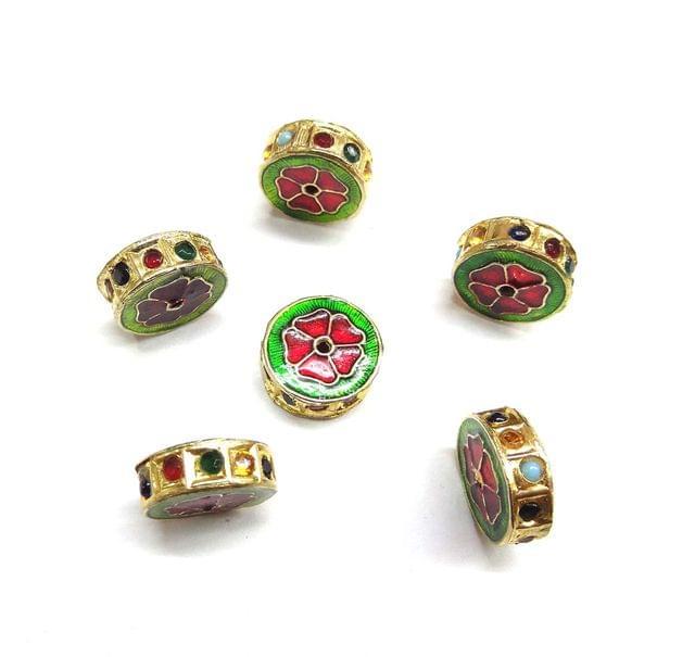Multi Jadau Meenakari Beads For Jewellery Making, 5pcs