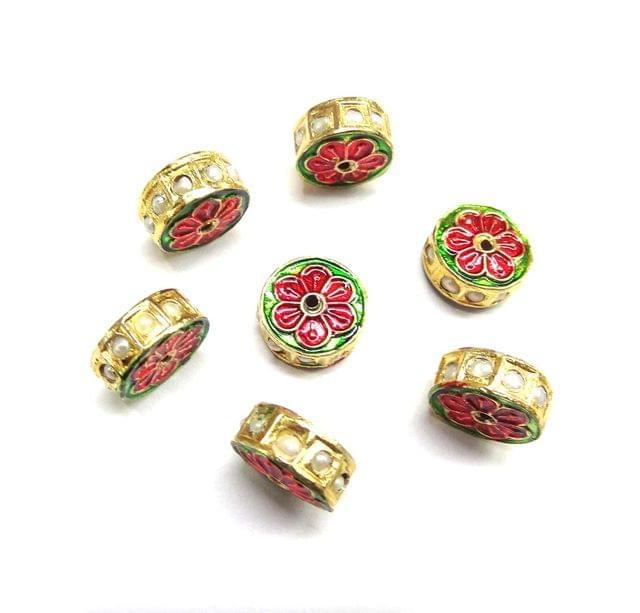 Moti Jadau Meenakari Beads For Jewellery Making, 5pcs