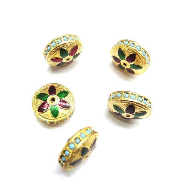 Turquoise Jadau Meenakari Round Beads For Jewellery Making, 5pcs