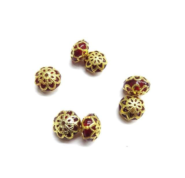 Red Jadau Beads For Jewellery Making, 10pcs