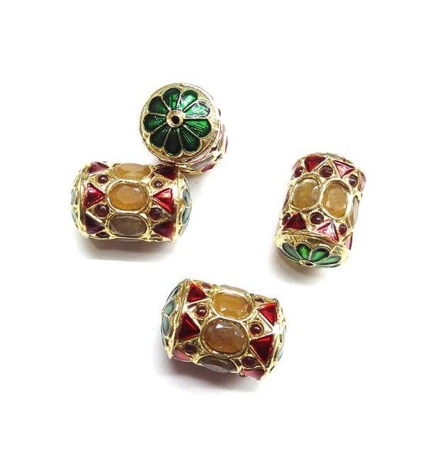 Yellow Jadau Meenakari Dholk Beads For Jewellery Making, 3pcs
