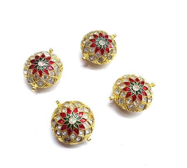 Jadau Meenakari Round Golden Beads For Jewellery Making, 3pcs