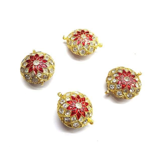 Jadau Red Meenakari Round Golden Beads For Jewellery Making, 3pcs
