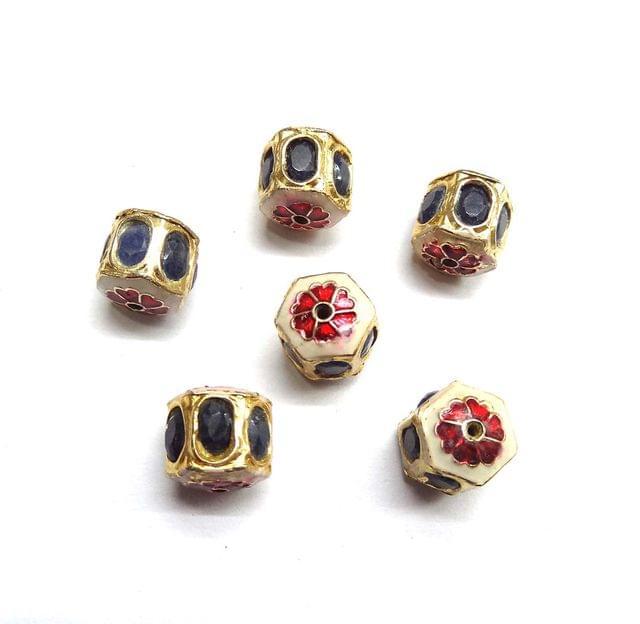 Blue Jadau Meenakari Golden Beads For Jewellery Making, 5pcs