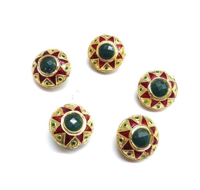 Green Jadau Meenakari Beads For jwellery Making, 5pcs, 24x15mm