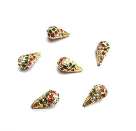 Multi Jadau Drop Style Small Beads For jwellery Making, 5pcs, 17x9mm