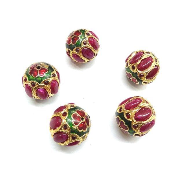 Red Jadau Meenakari Round Beads For Jewellery Making, 4pcs, 21mm