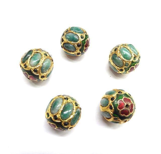 Green Jadau Meenakari Round Beads For Jewellery Making, 4pcs, 21mm