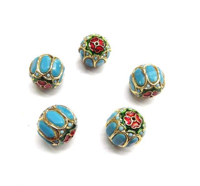 Turquoise Jadau Meenakari Round Beads For Jewellery Making, 4pcs, 17mm
