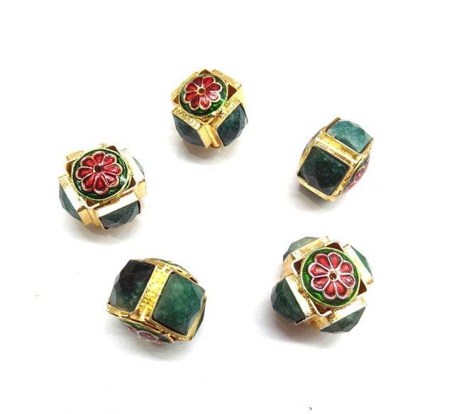 Green Jadau Meenakari Square Beads For Jewellery Making, 4pcs, 12x22mm