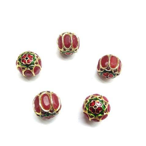 Red Jadau Meenakari Round Beads For Jewellery Making, 5pcs, 15mm