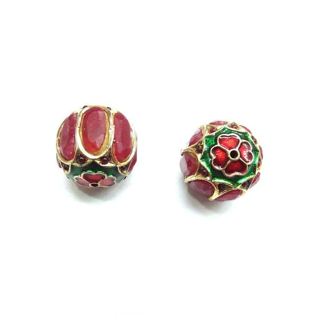 Red Jadau Meenakari Round Beads For Jewellery Making, 2pcs, 18mm