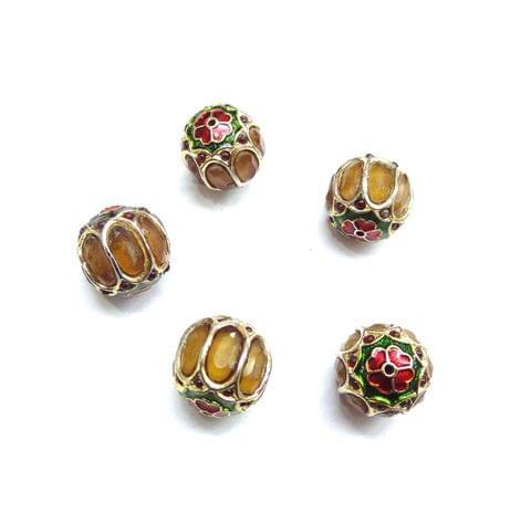Yellow Jadau Meenakari Round Beads For Jewellery Making, 5pcs, 15mm