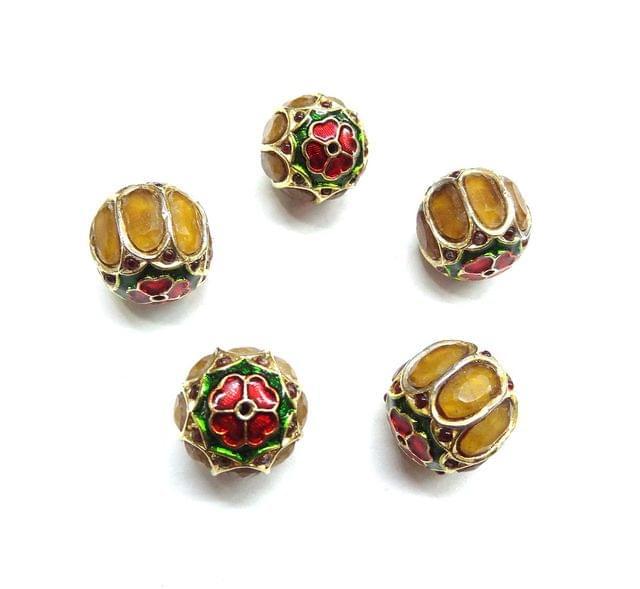 Yellow Jadau Meenakari Round Beads For Jewellery Making, 3pcs, 17mm
