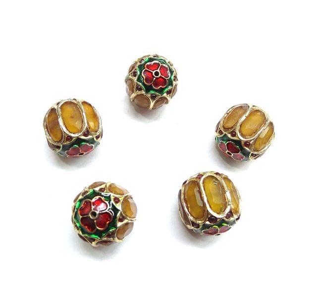 Yellow Jadau Meenakari Round Beads For Jewellery Making, 2pcs, 18mm