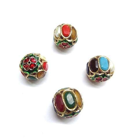 Navratan Jadau Meenakari Round Beads For Jewellery Making, 2pcs, 19mm