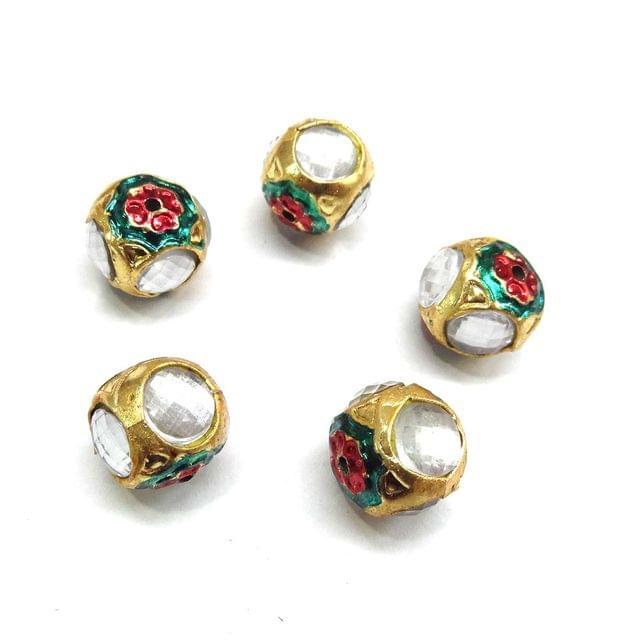 White Jadau Meenakari Beads For Jewellery Making, 5pcs, 14x15mm