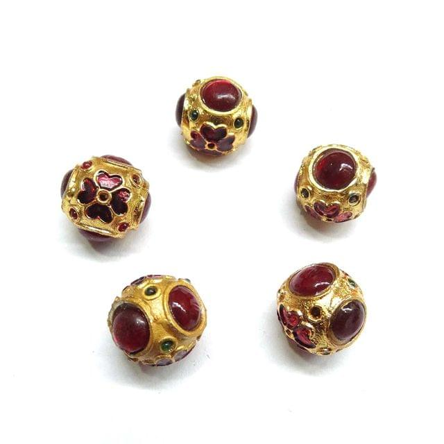 Red Jadau Meenakari Small Beads For Jewellery Making, 5pcs, 14x15mm