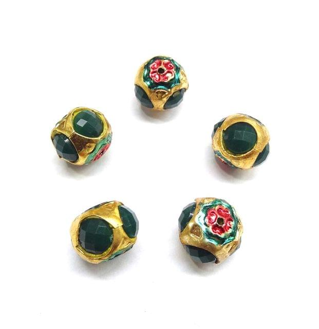 Green Jadau Meenakari Beads For Jewellery Making, 5pcs, 14x15mm