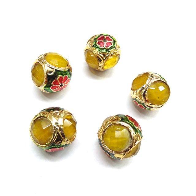 Yellow Jadau Meenakari Beads For Jewellery Making, 4pcs, 14x15mm