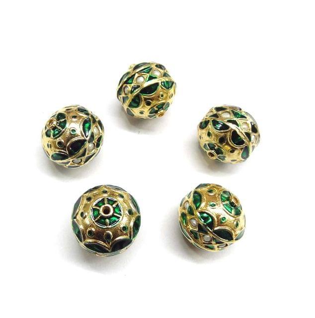 Moti Jadau Green Meenakari Beads For Jewellery Making, 5pcs, 20x18mm