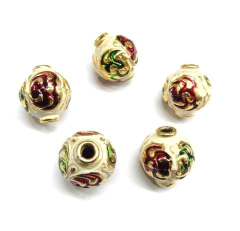 Designer Multi Meenakari Hall Beads For Jewellery Making, 5pcs, 24x33mm