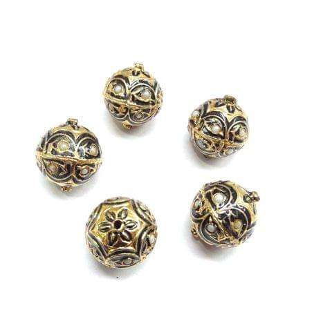 Moti Jadau Black Meenakari Beads For Jewellery Making, 5pcs, 19x16mm