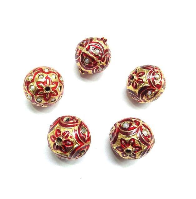 Moti Jadau Red Meenakari Beads For Jewellery Making, 5pcs, 18x16mm