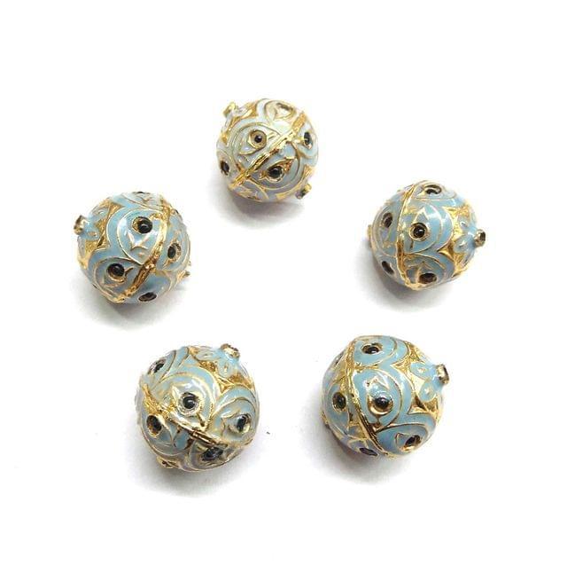 Green Jadau Turquoise Meenakari Beads For Jewellery Making, 5pcs, 19x16mm