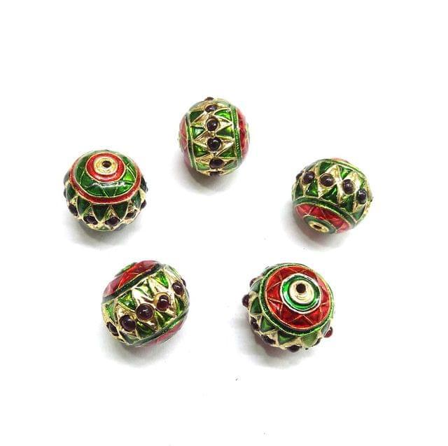 Red Jadau Meenakari Beads For Jewellery Making, 6pcs, 14x15mm