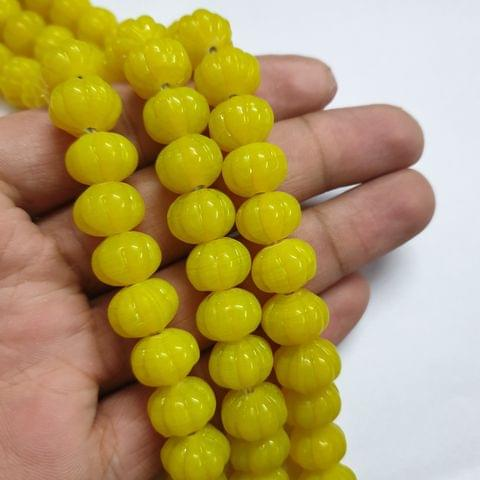 Yellow Pumpkin Shape Jade Strand, 30+ beads, 12-13 inch, 2 line, 12x10mm