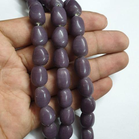 Purple Tumble Shape Jade Strand, 20+ beads, 12-13 inch, 2 line, 14x10mm