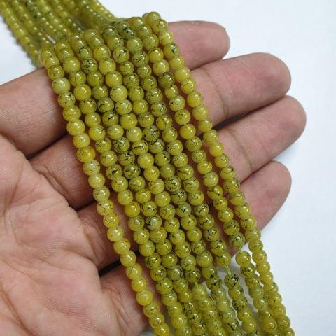 Yellow Designer Round Shape Glass Beads Strand, 105+ beads, 16-17 inch, 4 line, 4mm