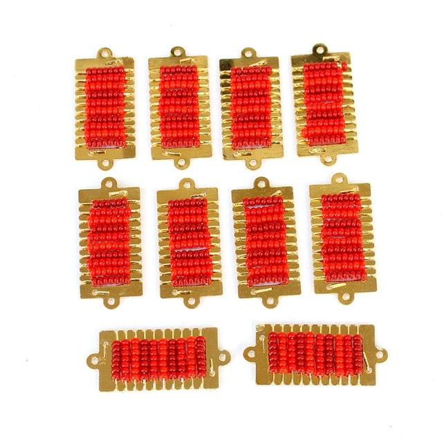 Gold Plated Miyuki Seed Beads Square Connector and Earrings Components Charms Red 28x15mm, Pack Of 10 Pcs