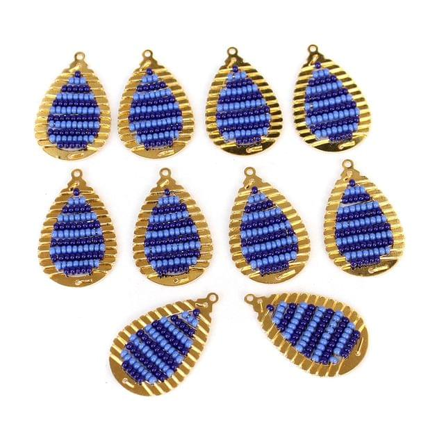 Gold Plated Miyuki Seed Beads Drop Earring Components Charms Blue 28x15mm, Pack Of 10 Pcs