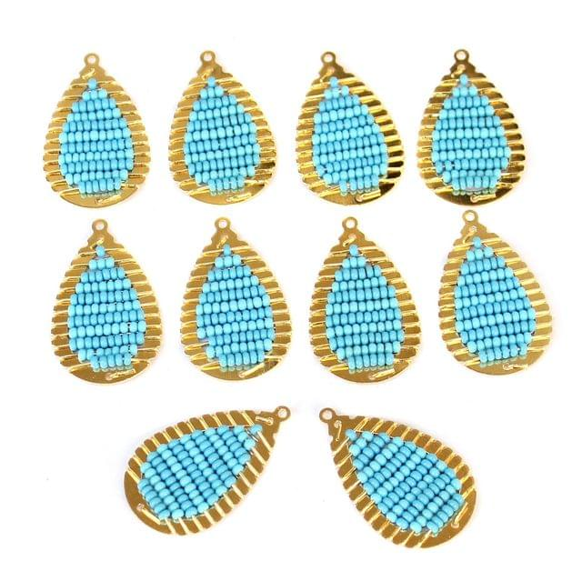Gold Plated Miyuki Seed Beads Drop Earring Components Charms Sky Blue 28x15mm, Pack Of 10 Pcs