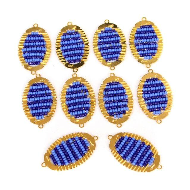 Gold Plated Miyuki Seed Beads Oval Connector and Earrings Components Charms Blue 28x15mm, Pack Of 10 Pcs