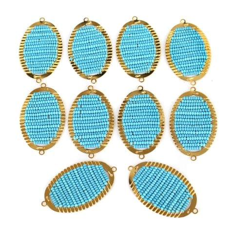 Gold Plated Miyuki Seed Beads Oval Connector and Earrings Components Charms Sky Blue 28x15mm, Pack Of 10 Pcs