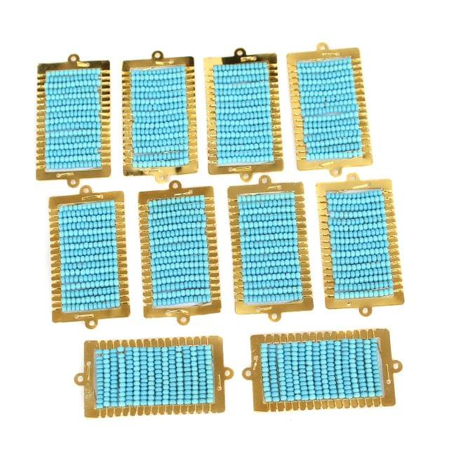 Gold Plated Miyuki Seed Beads Square Connector and Earrings Components Charms Sky Blue 42x19mm, Pack Of 10 Pcs