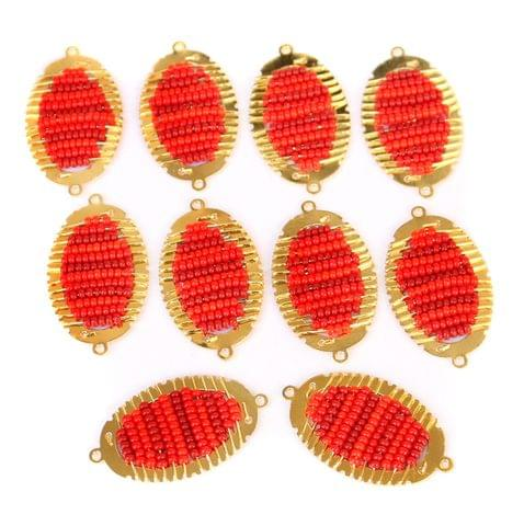 Gold Plated Miyuki Seed Beads Oval Connector and Earrings Components Charms Red 28x15mm, Pack Of 10 Pcs