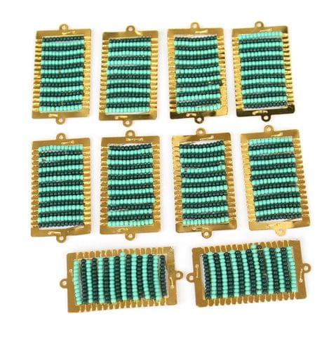 Gold Plated Miyuki Seed Beads Square Connector and Earrings Components Charms Teal 42x19mm, Pack Of 10 Pcs
