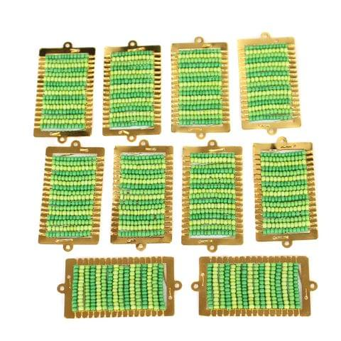 Gold Plated Miyuki Seed Beads Square Connector and Earrings Components Charms Green 42x19mm, Pack Of 10 Pcs