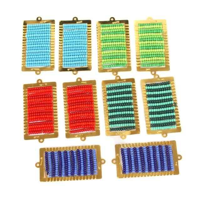 Gold Plated Miyuki Seed Beads Square Connector and Earrings Components Charms Multi 42x19mm, Pack Of 10 Pcs