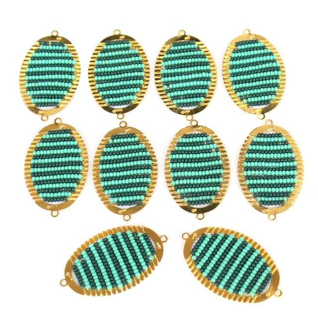 Gold Plated Miyuki Seed Beads Oval Connector and Earrings Components Charms Teal 42x19mm, Pack Of 10 Pcs