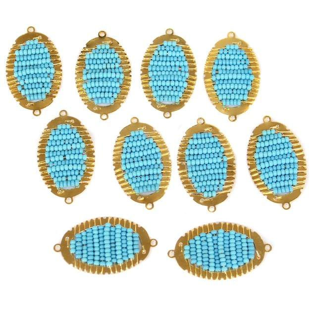 Gold Plated Miyuki Seed Beads Oval Connector and Earrings Components Charms Sky Blue 42x19mm, Pack Of 10 Pcs