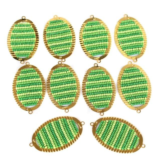 Gold Plated Miyuki Seed Beads Oval Connector and Earrings Components Charms Green 42x19mm, Pack Of 10 Pcs