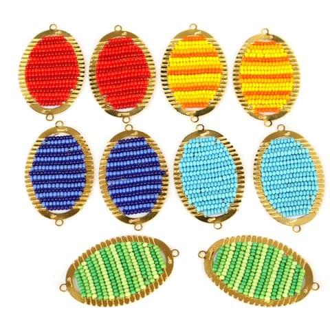 Gold Plated Miyuki Seed Beads Oval Connector and Earrings Components Charms Multi 42x19mm, Pack Of 10 Pcs