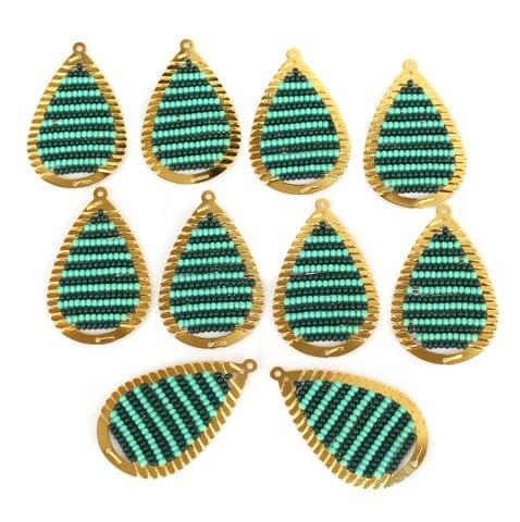 Gold Plated Miyuki Seed Beads Drop Earring Components Charms Teal 42x19mm, Pack Of 10 Pcs