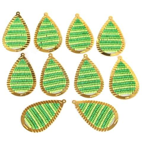 Gold Plated Miyuki Seed Beads Drop Earring Components Charms Green 42x19mm, Pack Of 10 Pcs