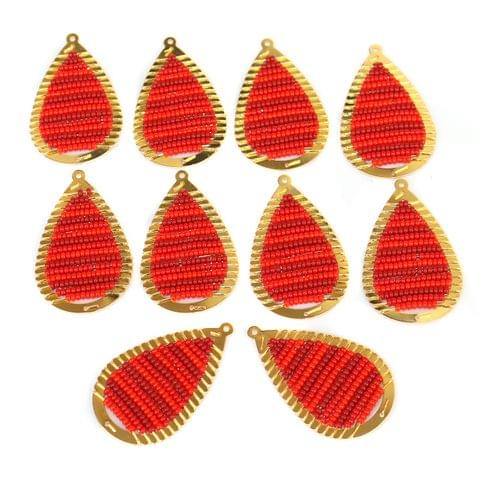 Gold Plated Miyuki Seed Beads Drop Earring Components Charms Red 42x19mm, Pack Of 10 Pcs